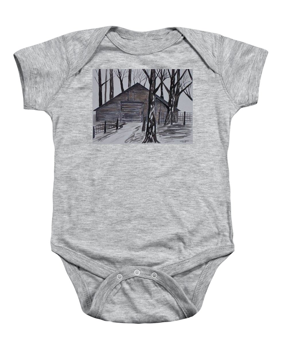 Watercolor Landscape Painting Barn Pen And Ink Drawing Print Original Baby Onesie featuring the painting Country Barn Pen And Ink Drawing Print by Derek Mccrea