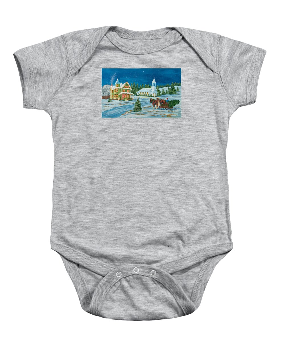 Winter Scene Paintings Baby Onesie featuring the painting Country Christmas by Charlotte Blanchard