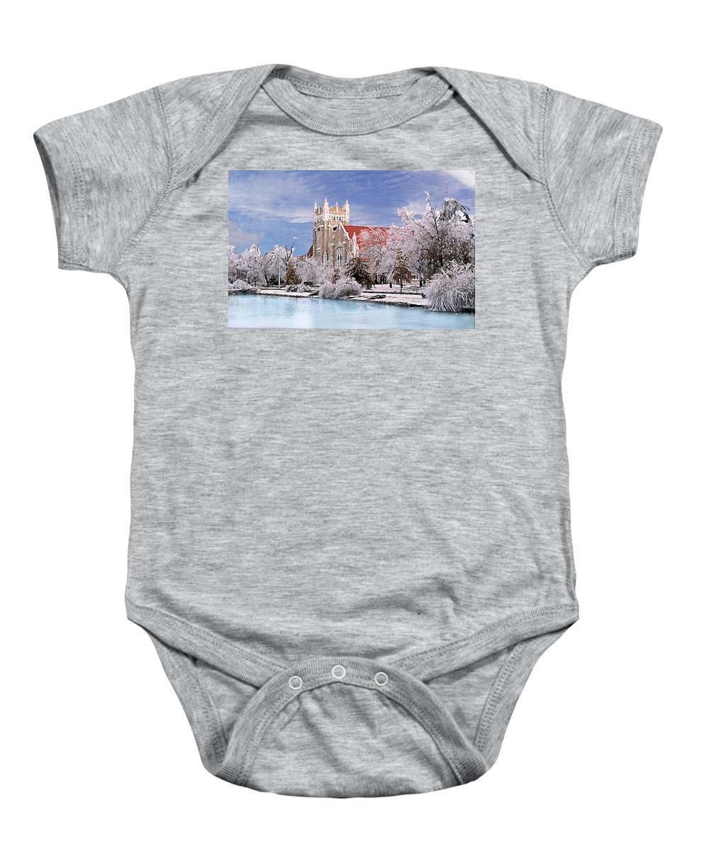 Winter Baby Onesie featuring the photograph Country Club Christian Church by Steve Karol