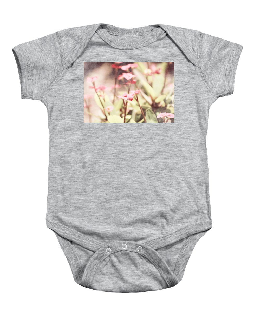 Prism Pink Baby Onesie featuring the photograph Country Memories in Prism Pink by Colleen Cornelius