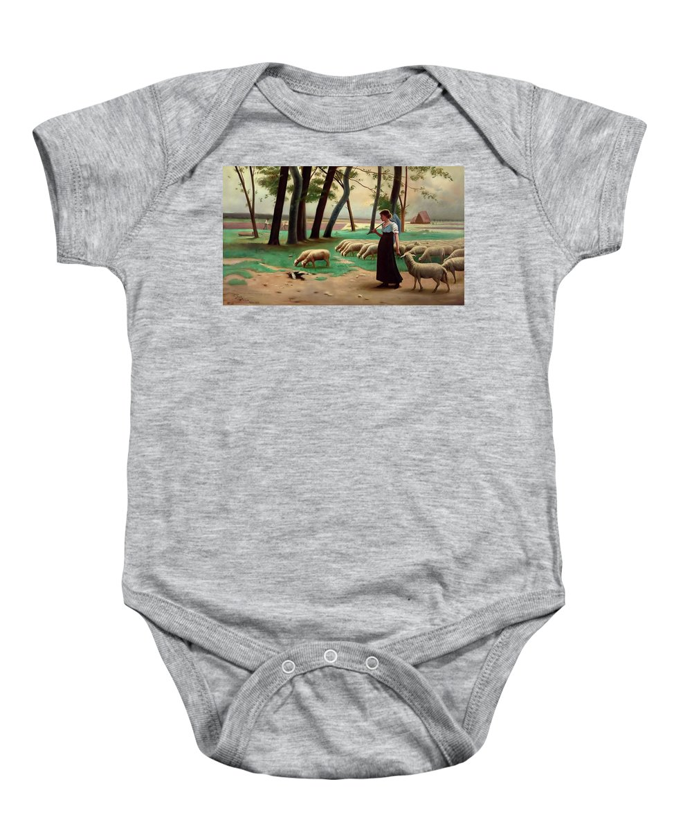 Country Baby Onesie featuring the painting Country Shepherdess by Henri Lerolle