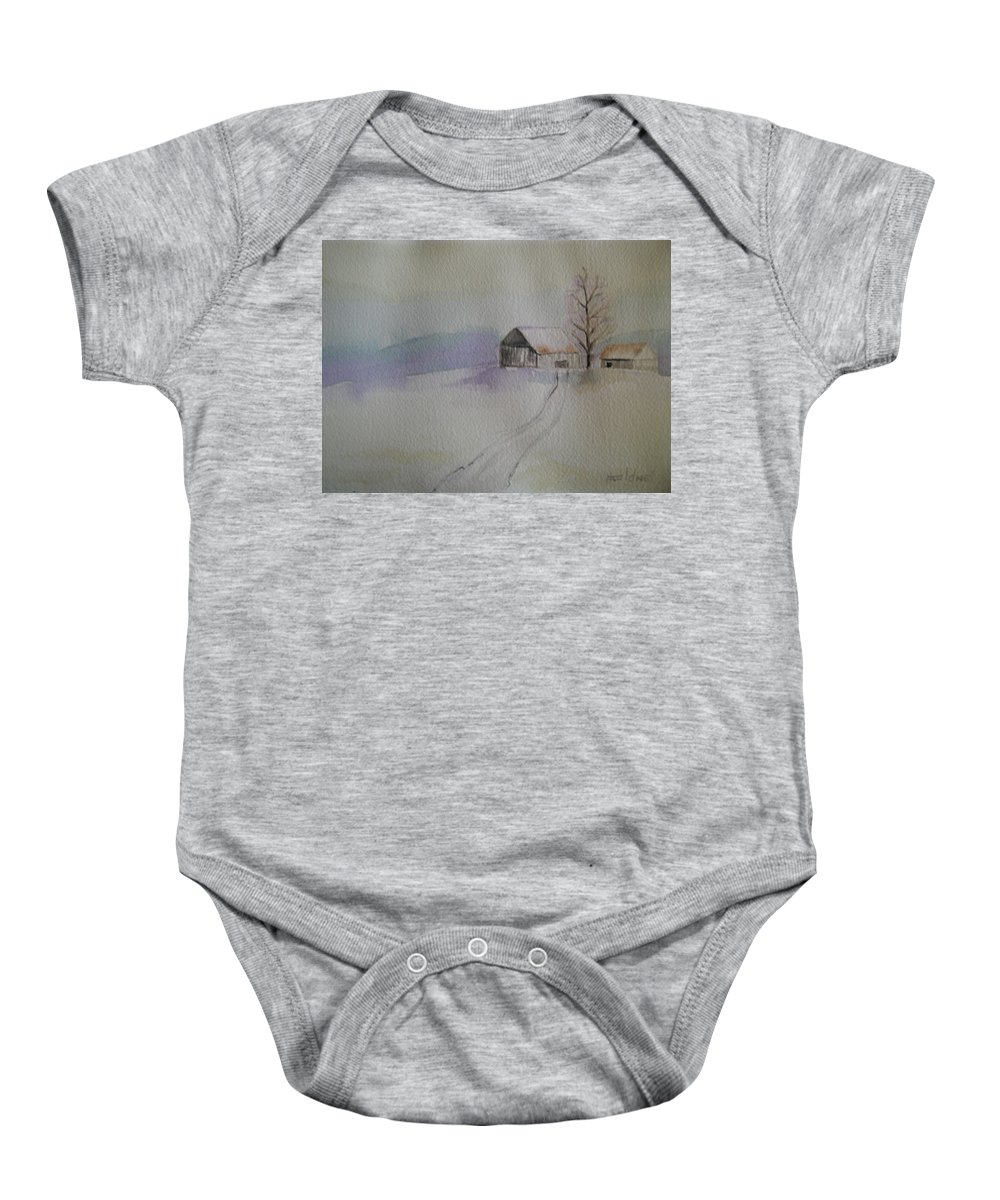 Barn Snow Winter Tree Landscape Cold Baby Onesie featuring the painting Country Snow by Patricia Caldwell