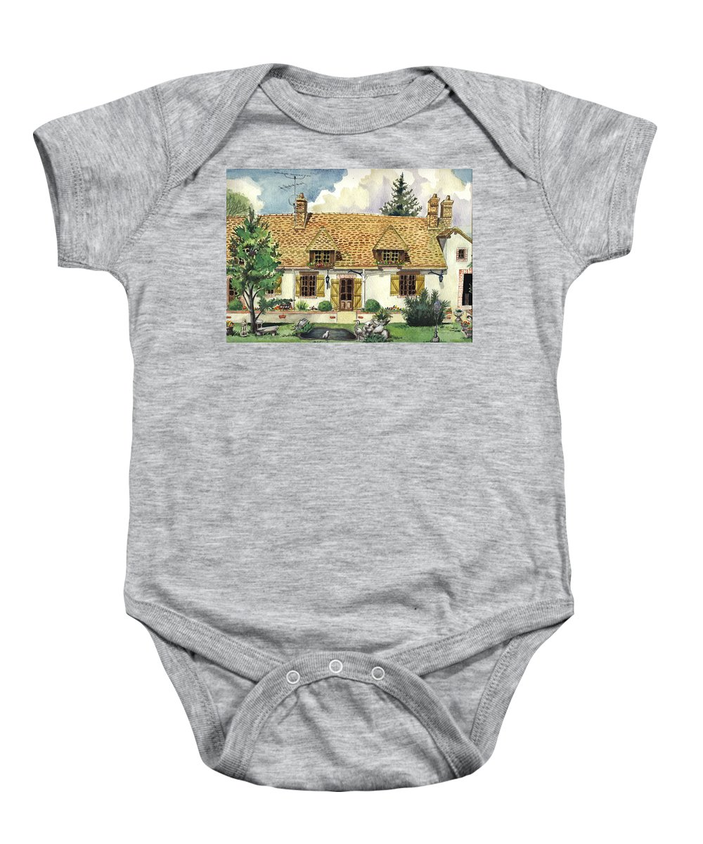 House Baby Onesie featuring the painting Countryside House In France by Alban Dizdari