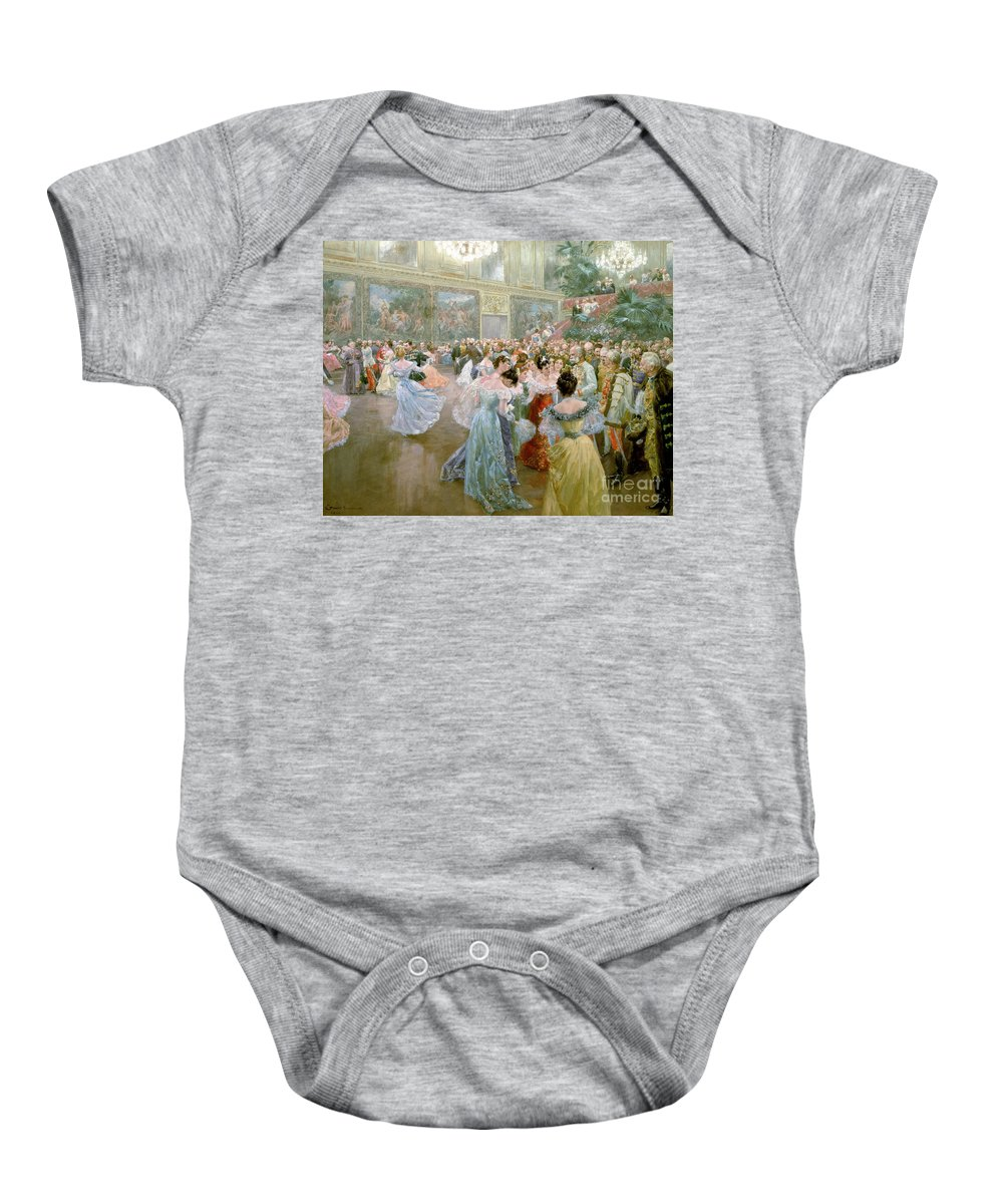 Court Ball At The Hofburg Baby Onesie featuring the painting Court Ball At The Hofburg by Wilhelm Gause