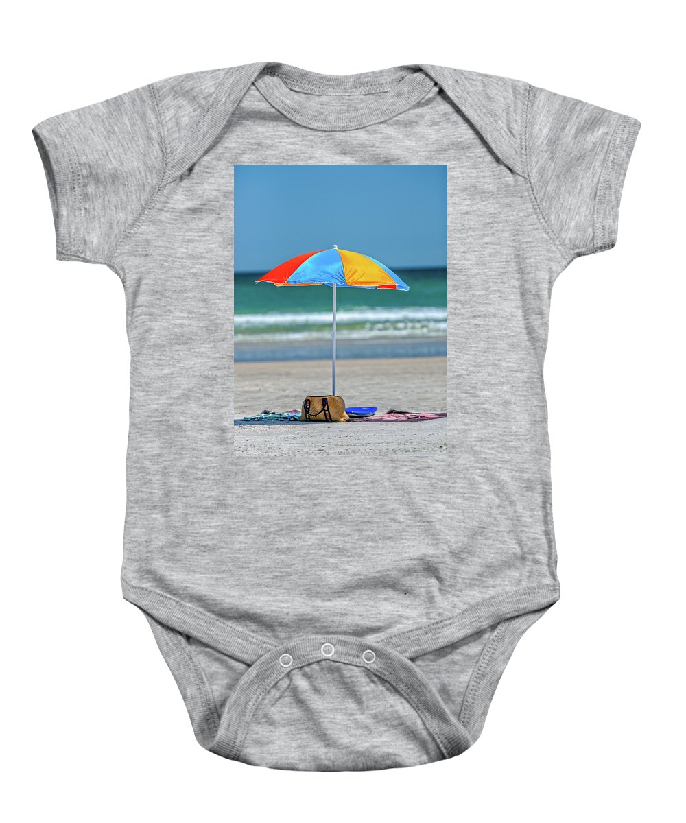 Umbrella Baby Onesie featuring the photograph Covered by Christopher Holmes