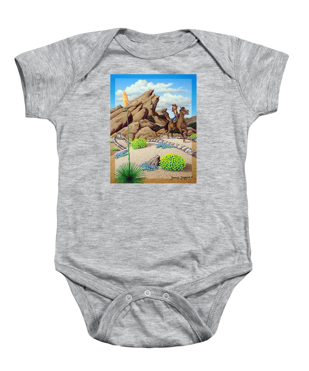 Cowboy Baby Onesie featuring the painting Cowboy Concerns by Snake Jagger