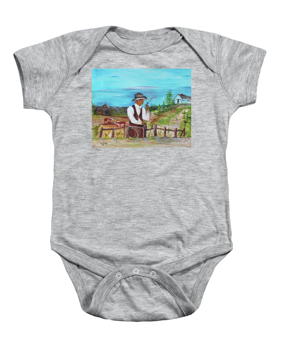 Cowboy Baby Onesie featuring the painting Cowboy On The Farm by Betty McGregor