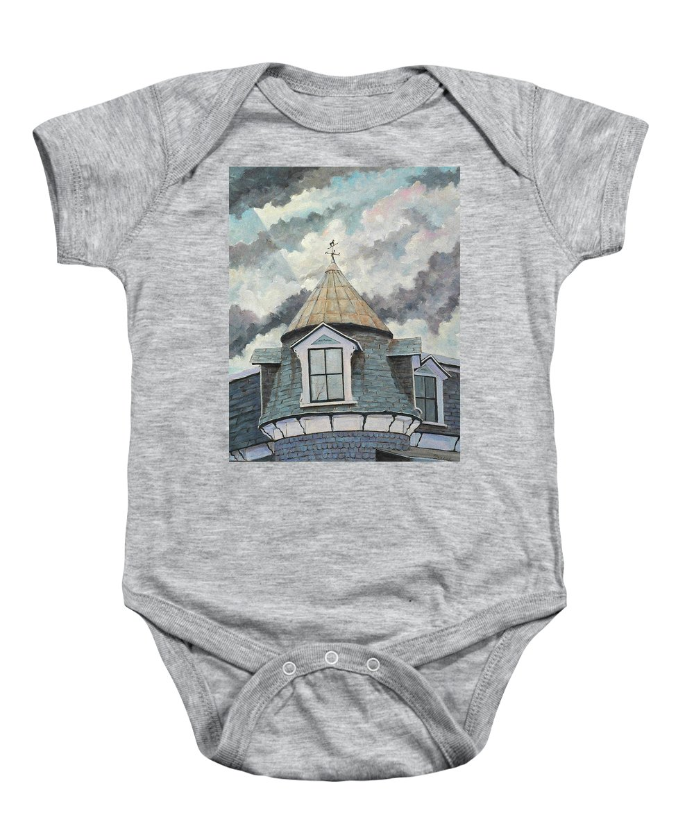Art Baby Onesie featuring the painting Crack The Sky by Richard T Pranke