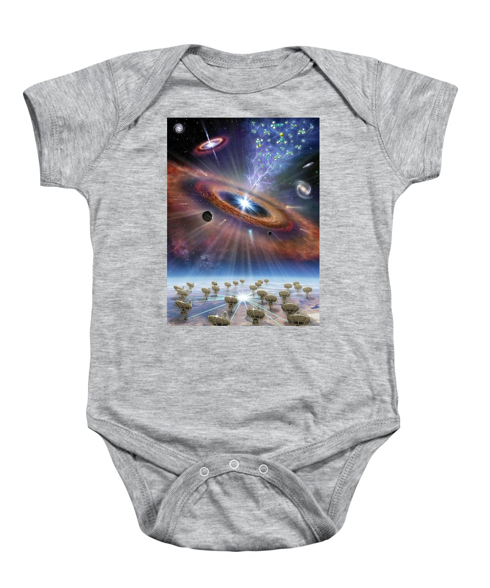 Astronomy Baby Onesie featuring the digital art Cradle Of Life by Aldo Spadoni