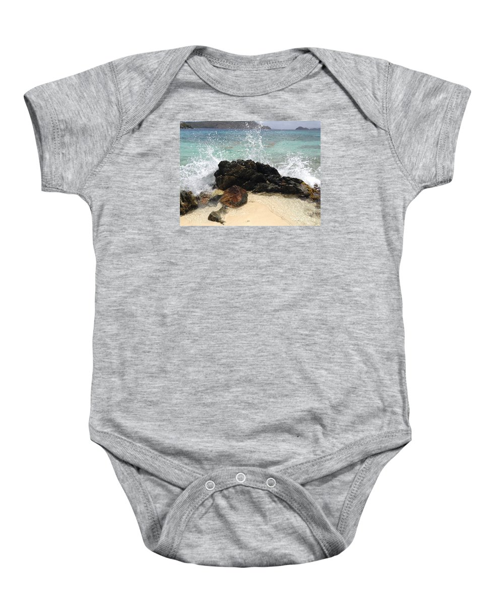 St. Thomas Baby Onesie featuring the photograph Crashing Waves At Sugar Beach by Gina Sullivan