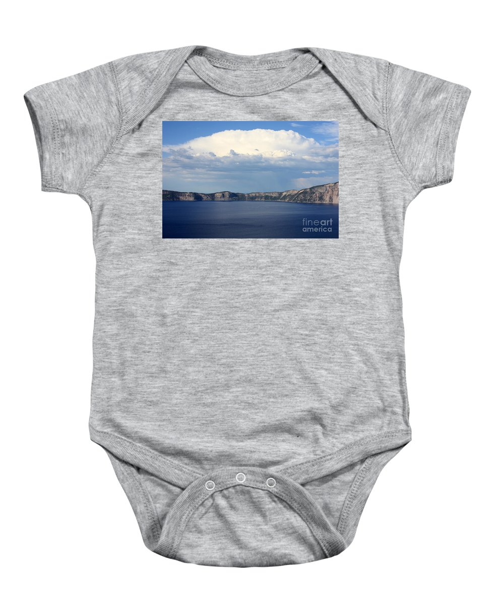 Clouds Baby Onesie featuring the photograph Crater Lake by Carol Groenen