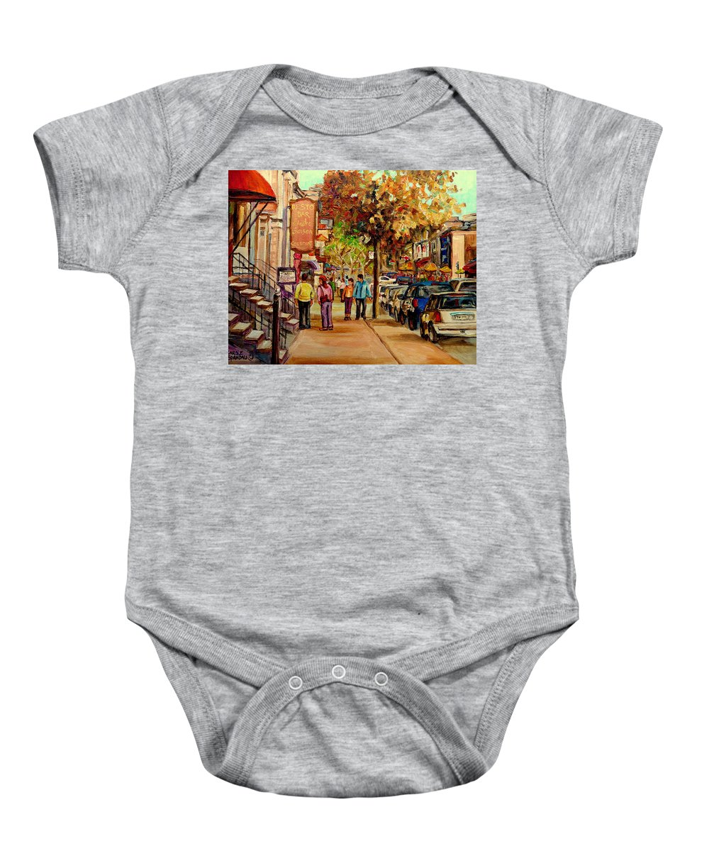 Montreal Streetscenes Baby Onesie featuring the painting Crescent Street Montreal by Carole Spandau