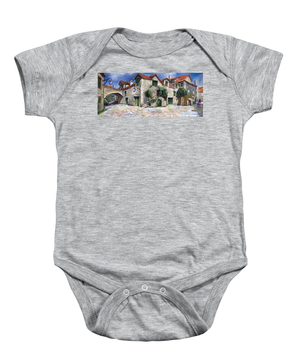 Pastel On Paper Baby Onesie featuring the painting Croatia Dalmacia Square by Yuriy Shevchuk