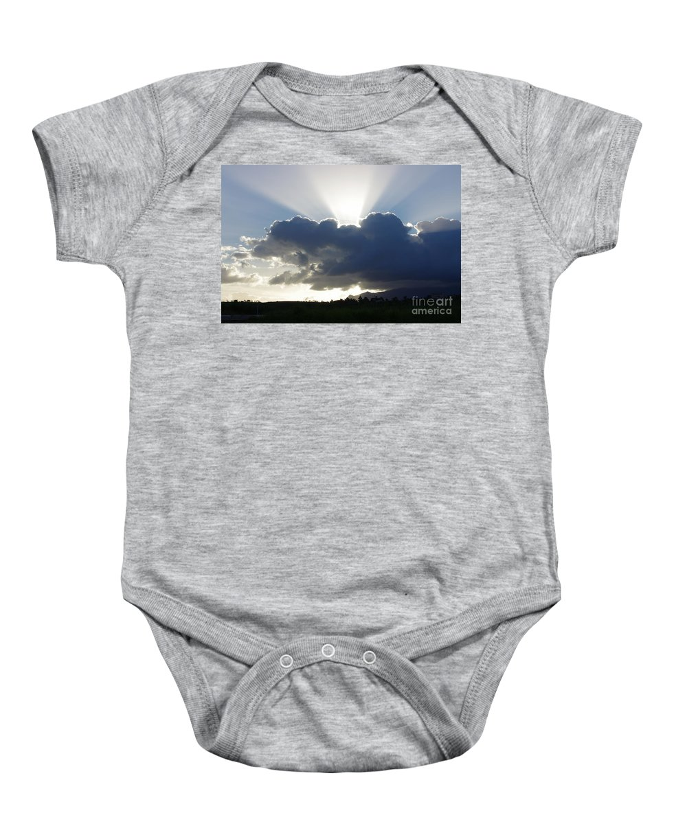 Afternoon Baby Onesie featuring the painting Crocodile Clouds Sunrays and Mt Bartle Frere FNQ by Kerryn Madsen-Pietsch