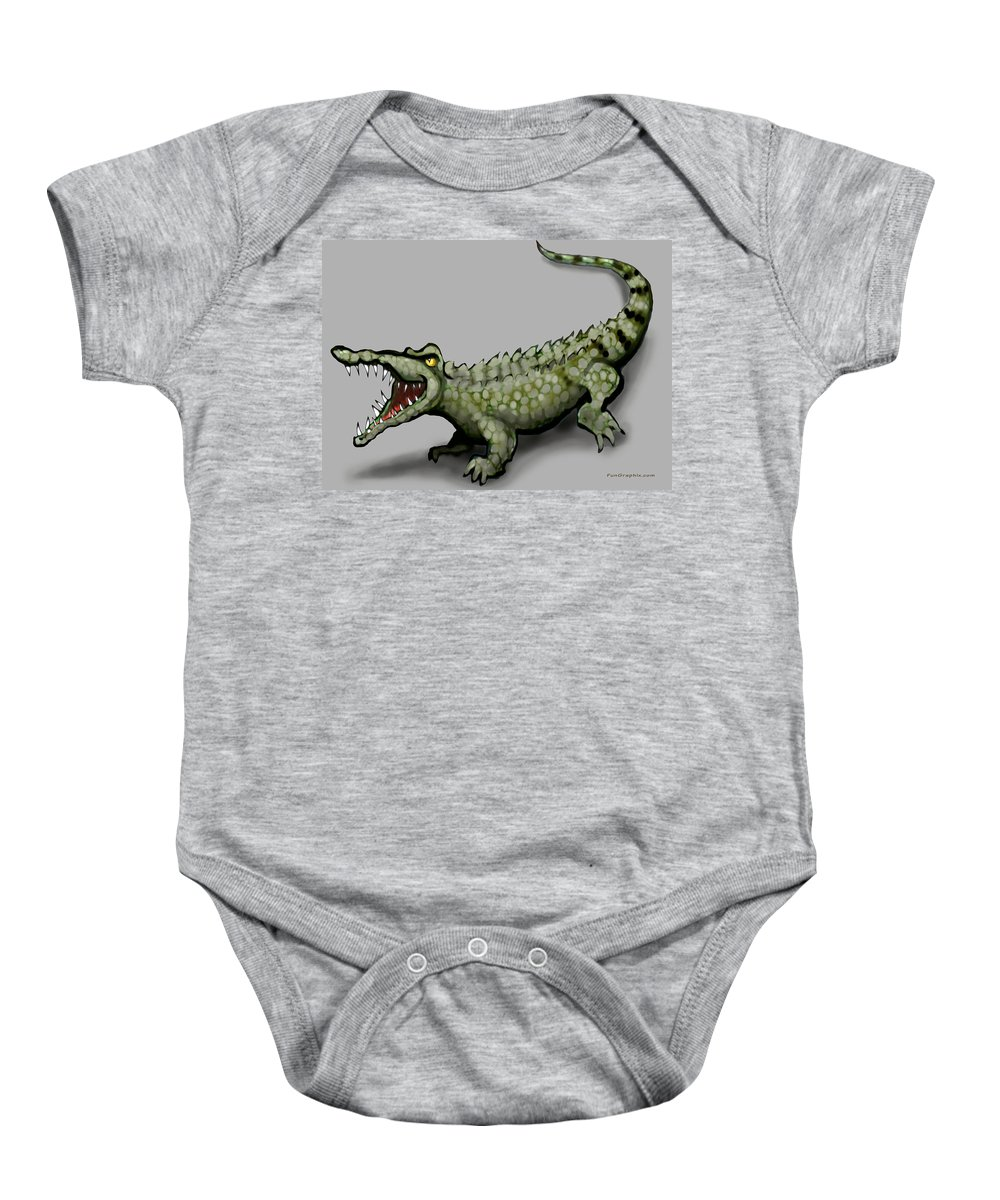 Crocodile Baby Onesie featuring the greeting card Crocodile by Kevin Middleton