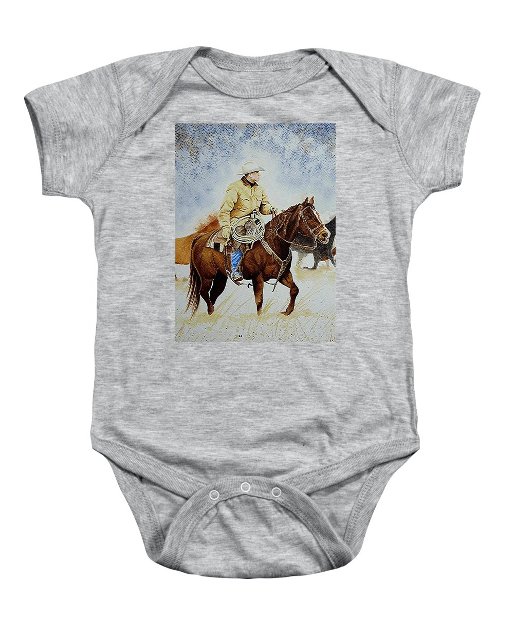 Art Baby Onesie featuring the painting Cropped Ranch Rider by Jimmy Smith