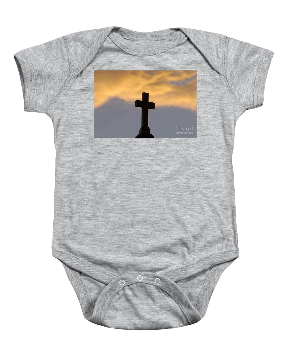Cross Baby Onesie featuring the photograph Cross And Sky by David Lee Thompson
