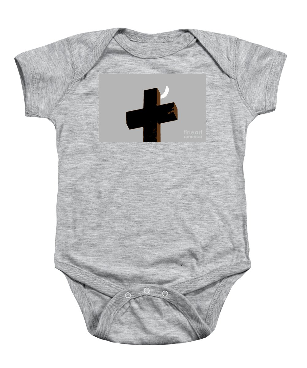 Cross Baby Onesie featuring the painting Cross The Moon by David Lee Thompson