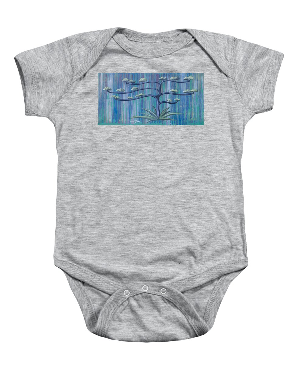Tree Baby Onesie featuring the painting Cross Tree by Kelly Jade King