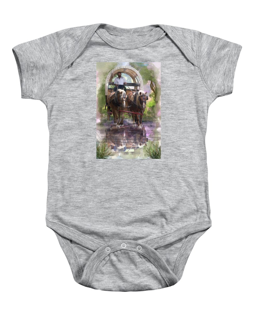 Watercolor Baby Onesie featuring the digital art Crossing The Creek by Mary Almond