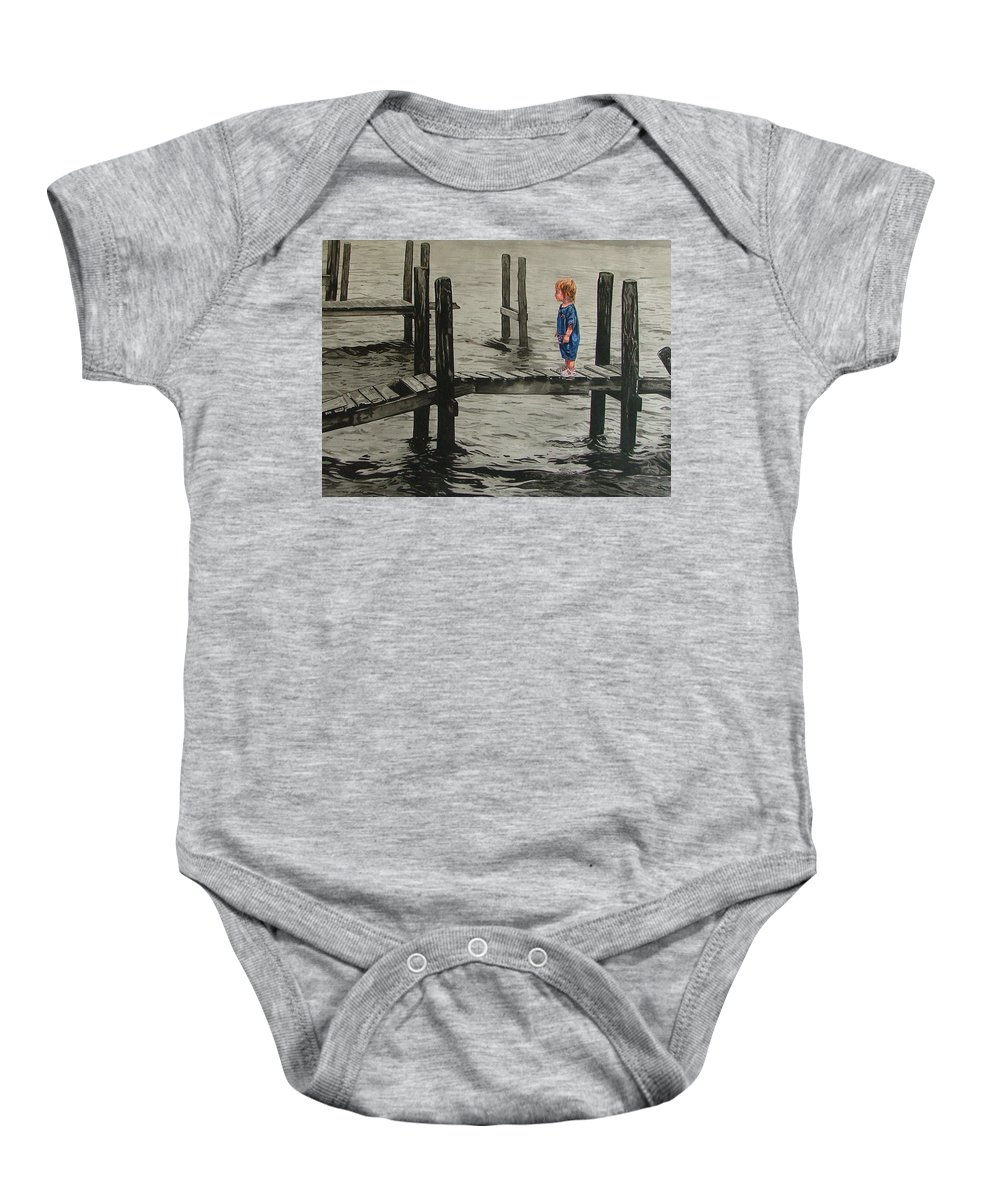 Children Baby Onesie featuring the painting Crossing by Valerie Patterson