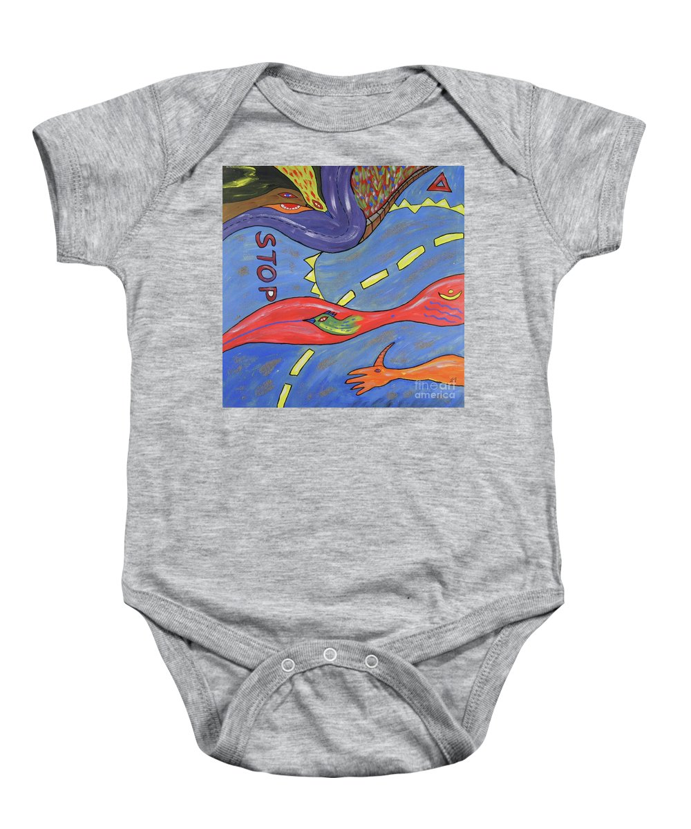 Crossroads Baby Onesie featuring the painting Crossroads by Erwin Bruegger