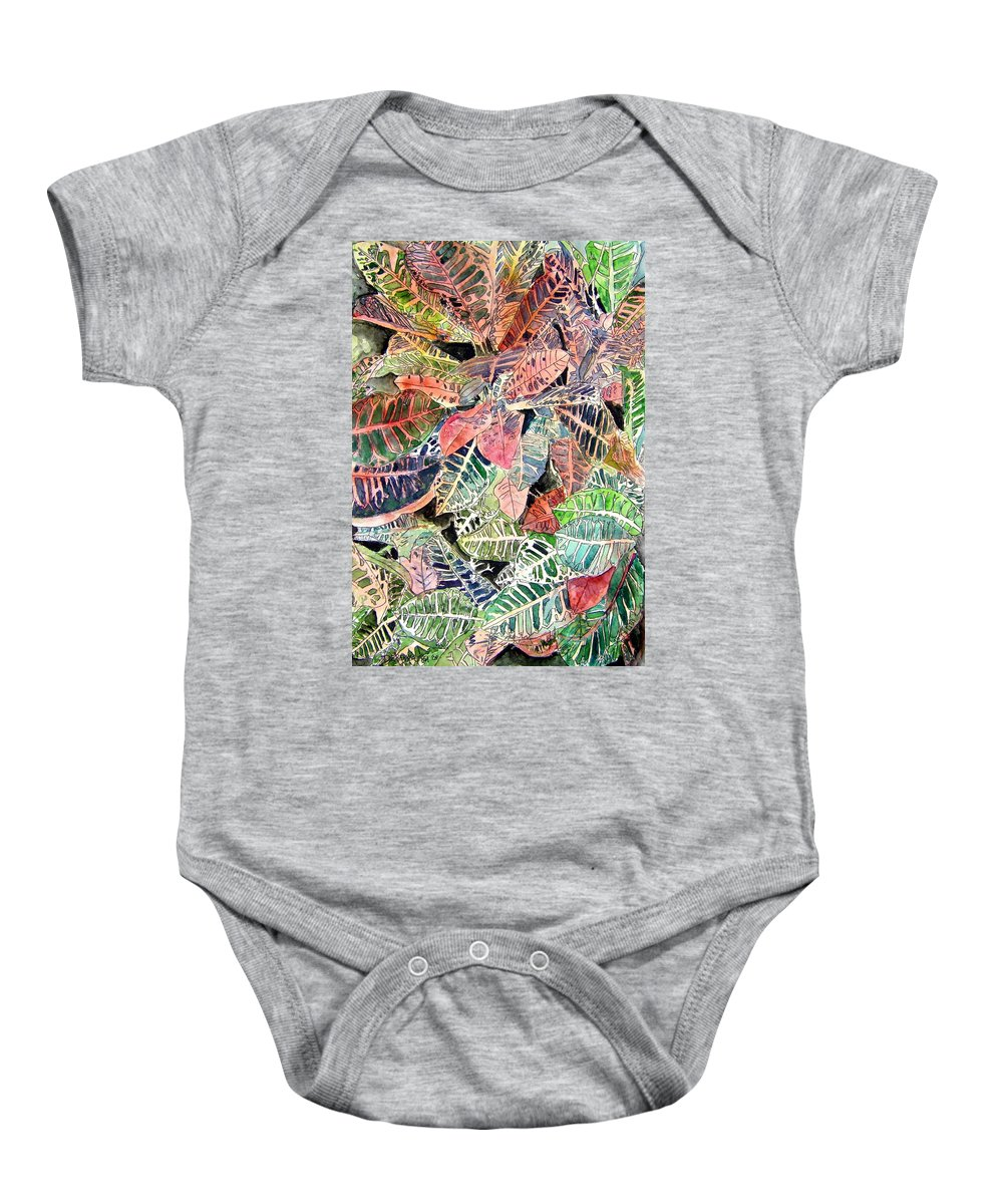 Croton Baby Onesie featuring the painting Croton Tropical Art Print by Derek Mccrea