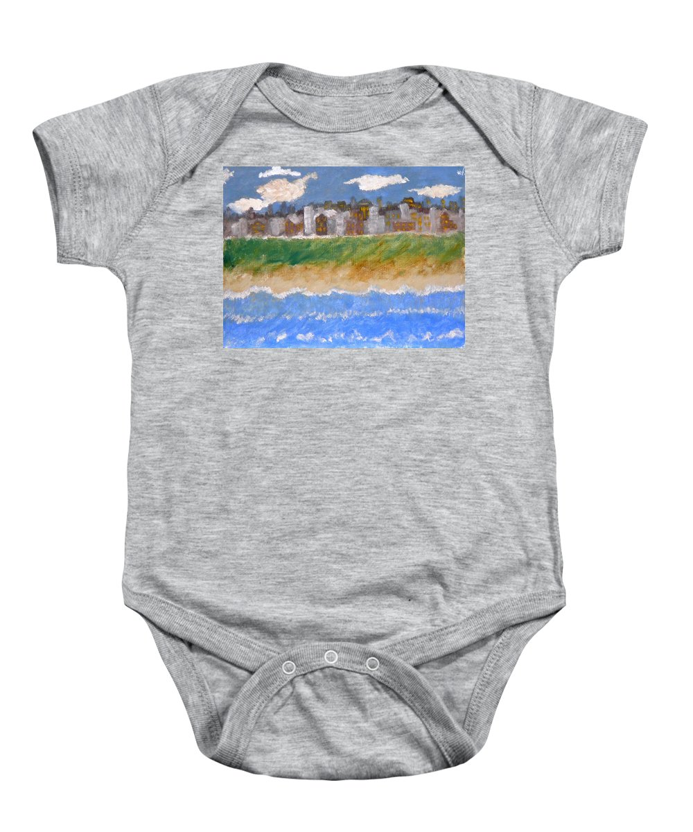Seascape Baby Onesie featuring the painting Crowded Beaches by R B
