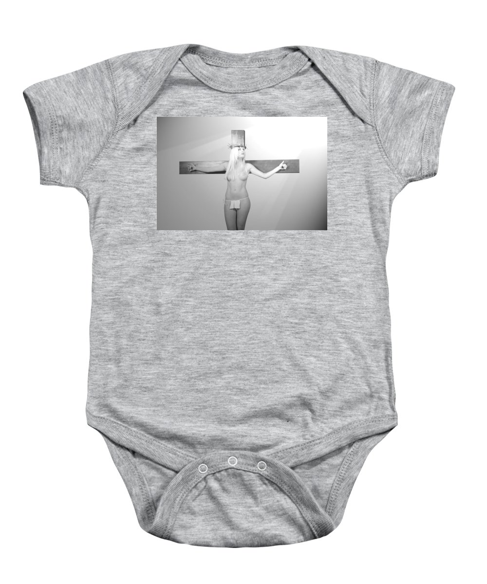 Black And White Baby Onesie featuring the photograph Crucifix And Light by Ramon Martinez