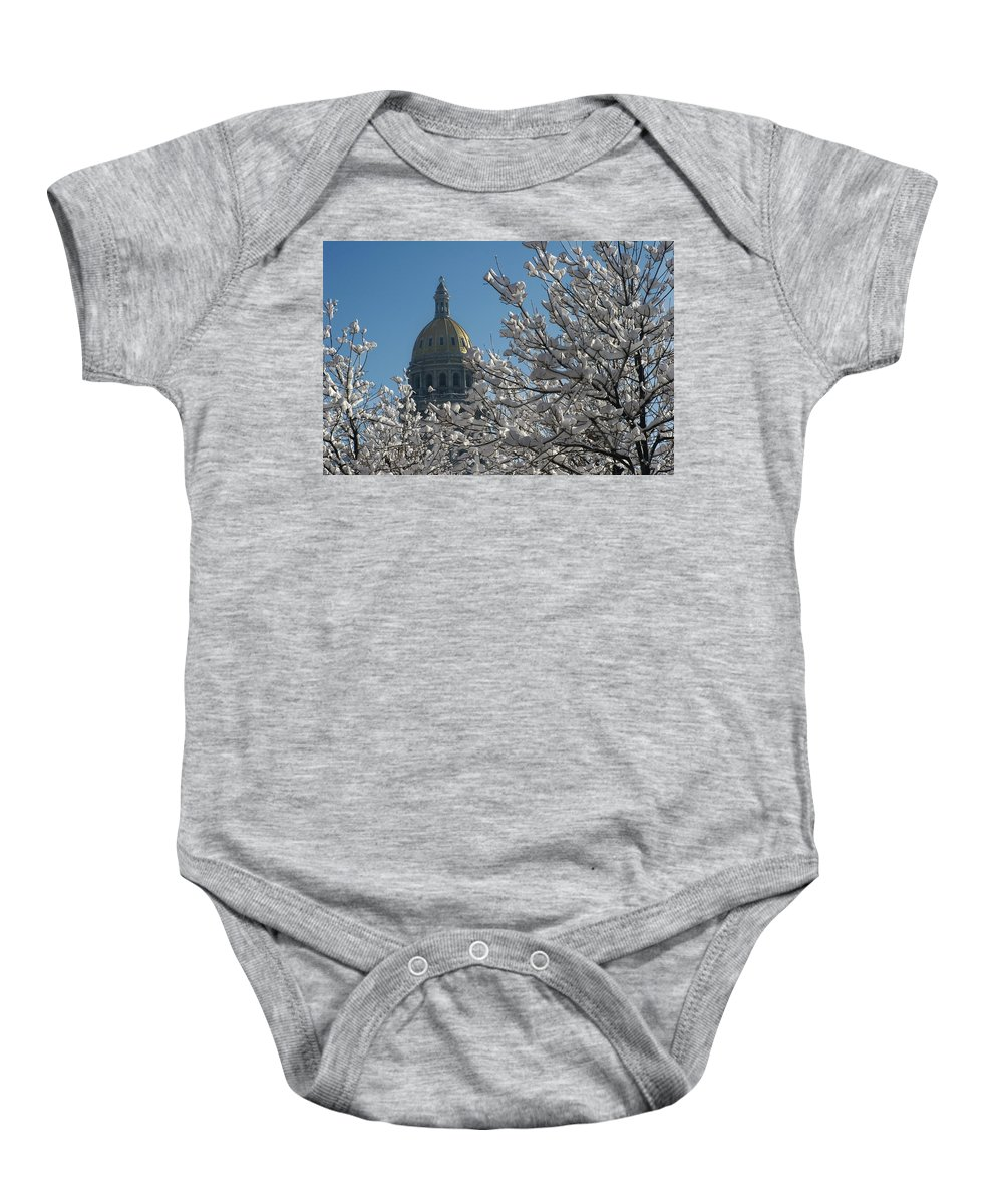 Denver Baby Onesie featuring the photograph Crystal Capitol by Jeffery Ball