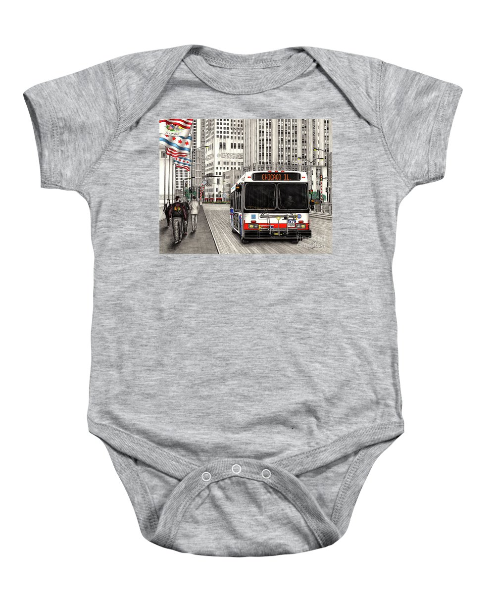 d23a564f9 Cta Baby Onesie featuring the drawing Cta Bus On Michigan Avenue by Omoro  Rahim