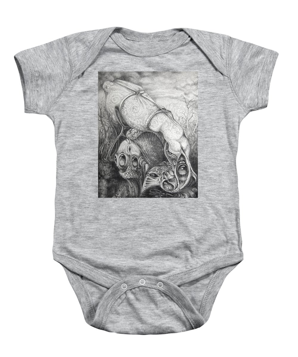 Surrealism Baby Onesie featuring the drawing Ctulhu Seedpods by Otto Rapp
