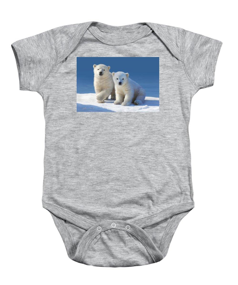 Polar Bear Cubs Baby Onesie featuring the photograph Cub Cakes by Shane Lamb