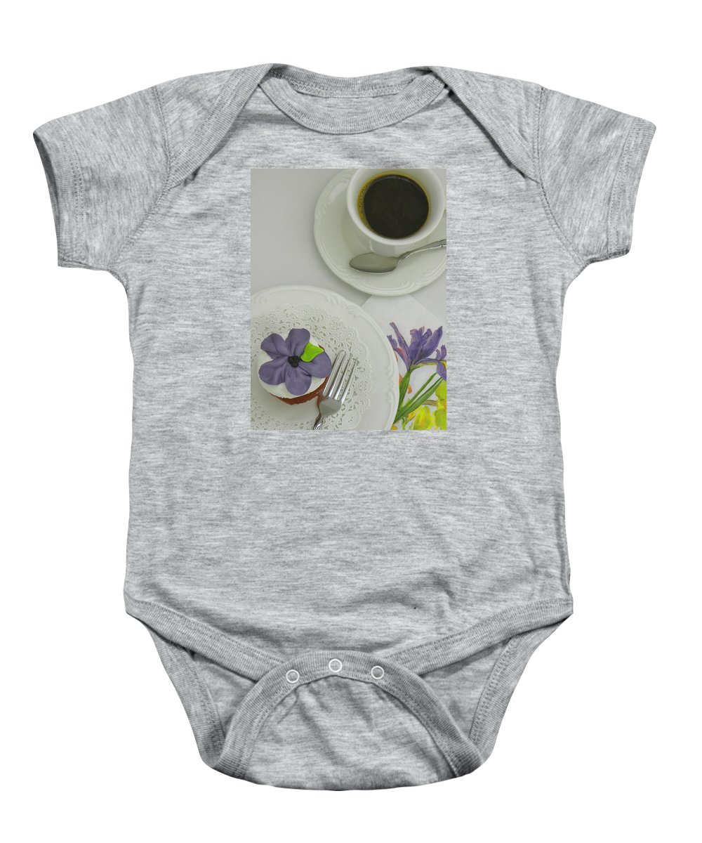 Cupcake Baby Onesie featuring the photograph Cupcake And Coffee by Sandi OReilly