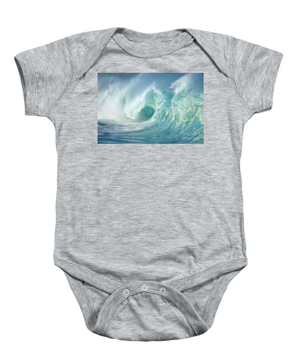 Aqua Baby Onesie featuring the photograph Curling Wave by Vince Cavataio - Printscapes
