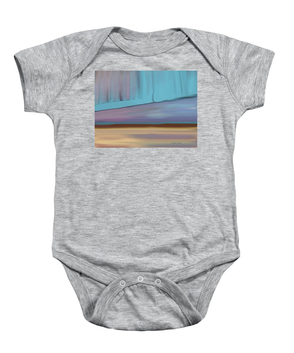 Abstract Baby Onesie featuring the painting Curtain At The End Of Day by Lenore Senior
