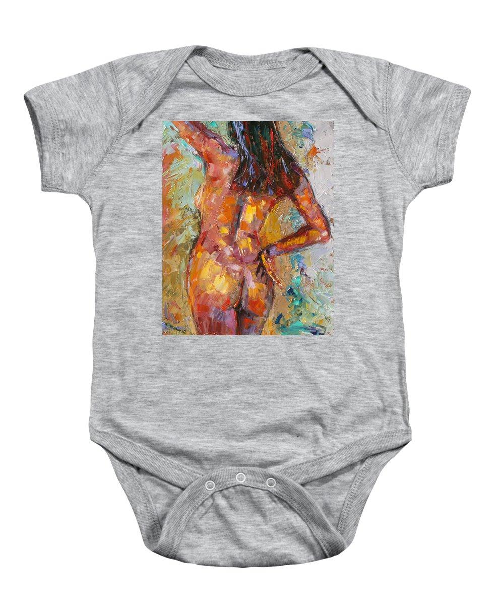 Nude Baby Onesie featuring the painting Curves by Debra Hurd