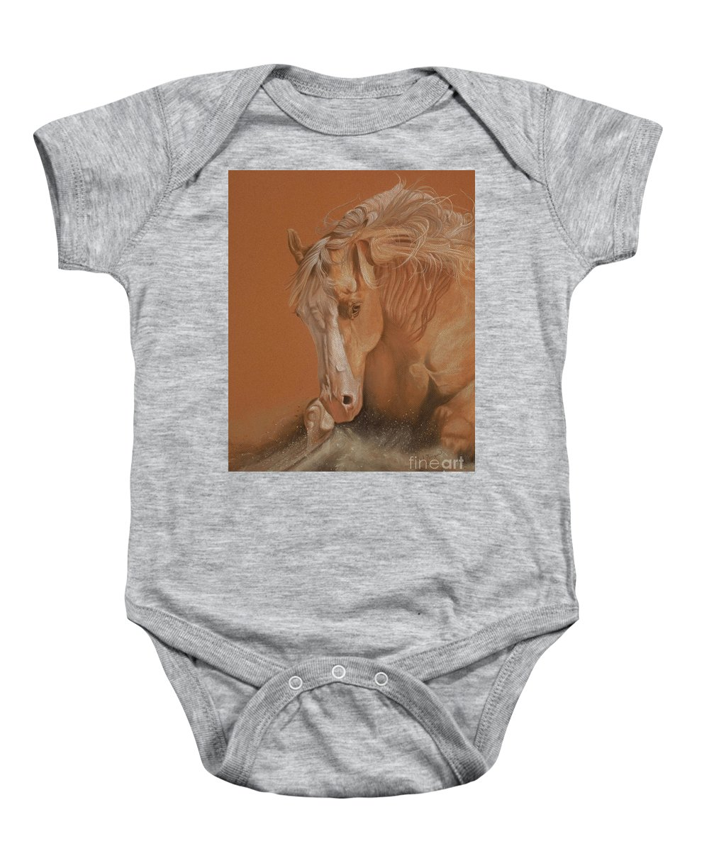 Horse Baby Onesie featuring the painting Cutting Horse by Gail Finger
