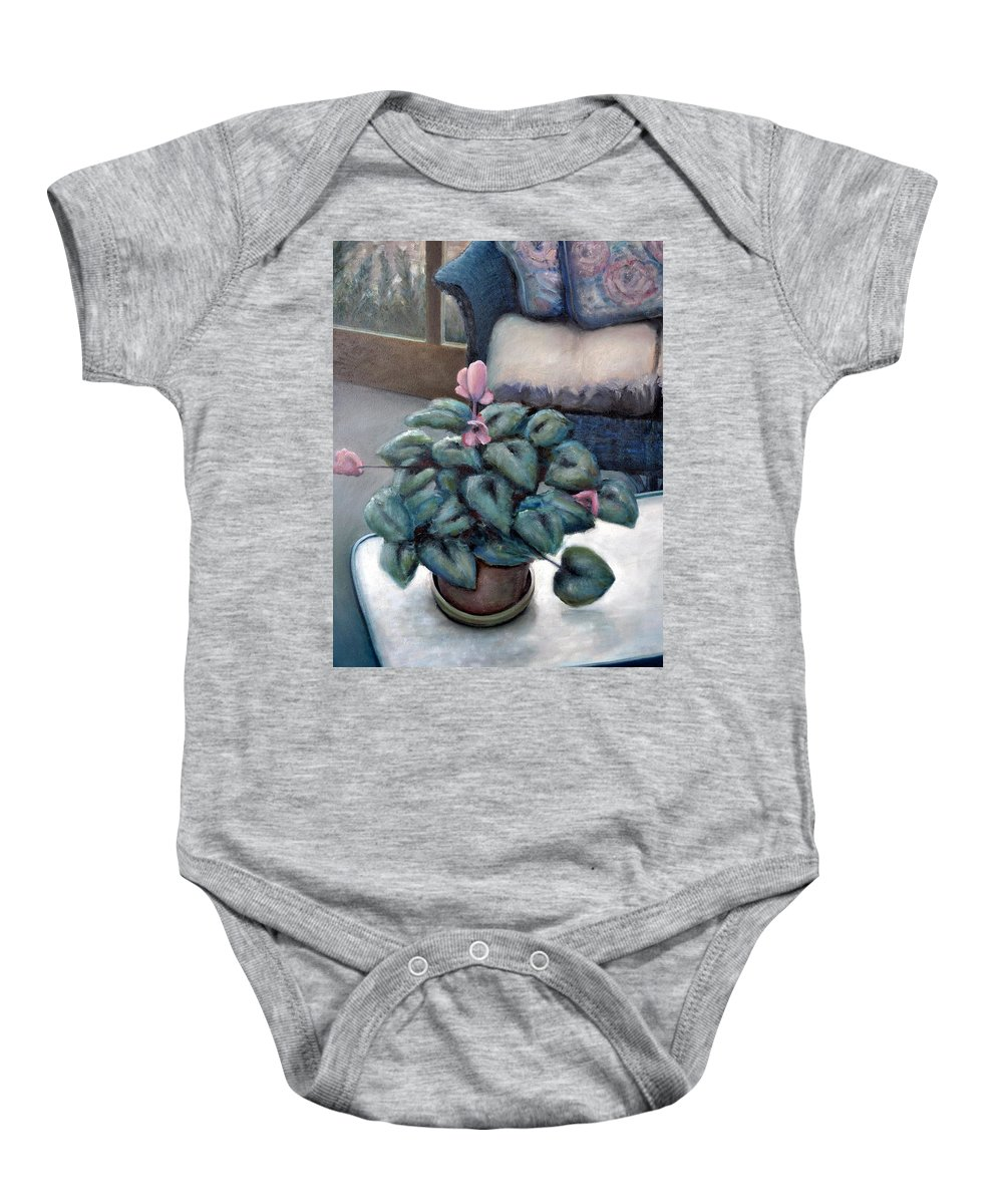 Cyclamen Baby Onesie featuring the painting Cyclamen And Wicker by Michelle Calkins