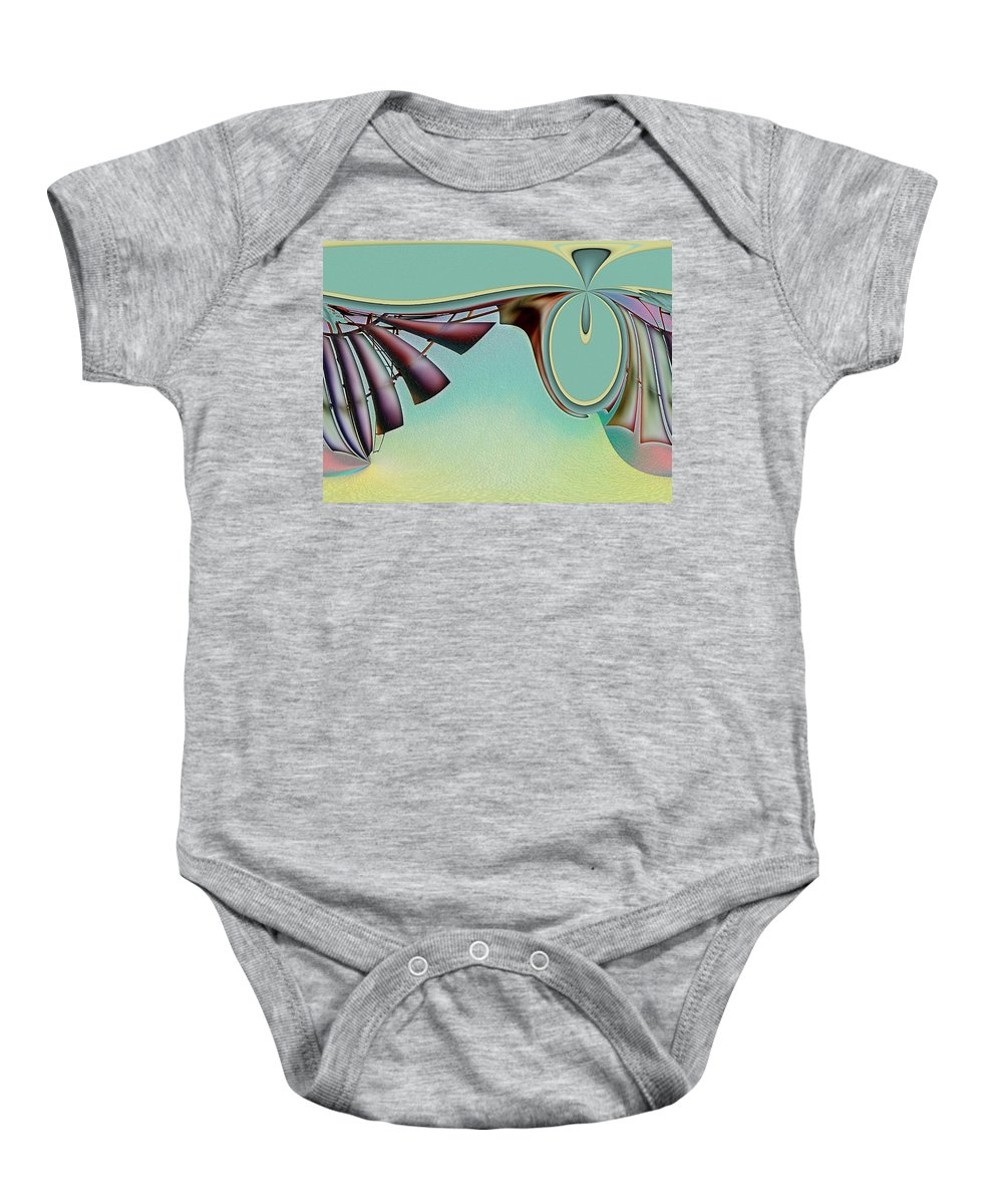 Abstract Baby Onesie featuring the digital art Da Vinci's Nudge by Wendy J St Christopher