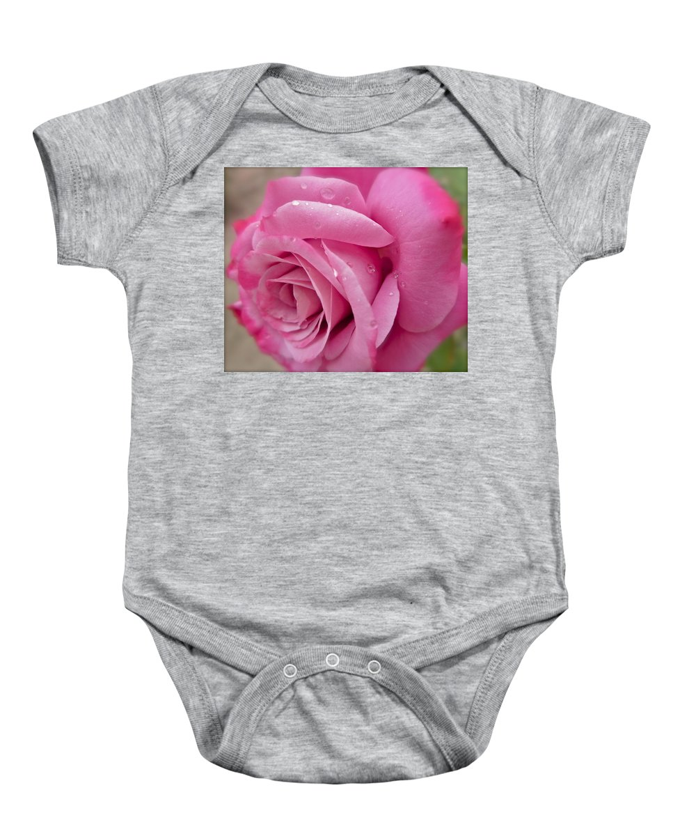 Photograph Of Pink Rose Baby Onesie featuring the photograph Daddy's Rose by Gwyn Newcombe
