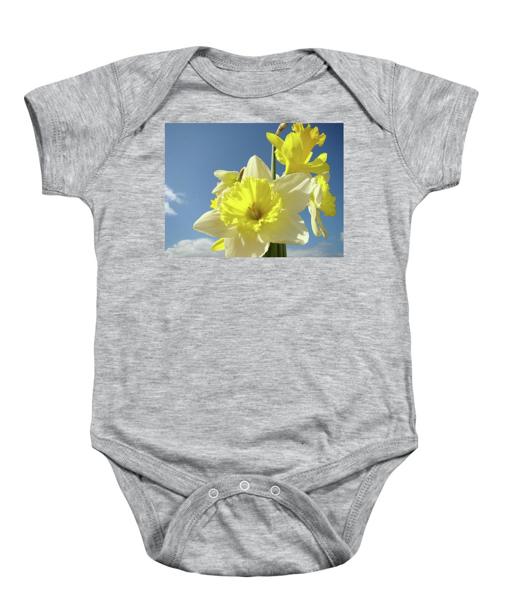 �daffodils Artwork� Baby Onesie featuring the photograph Daffodil Flowers Artwork Floral Photography Spring Flower Art Prints by Baslee Troutman