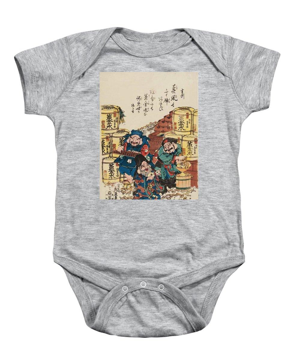 Daikoku Baby Onesie featuring the painting Daikoku Ebisu And Fukurokuju Counting Money by Eisen Keisai