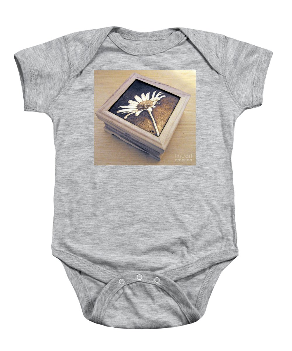 Daisy Baby Onesie featuring the pyrography Daisy by Ilaria Andreucci