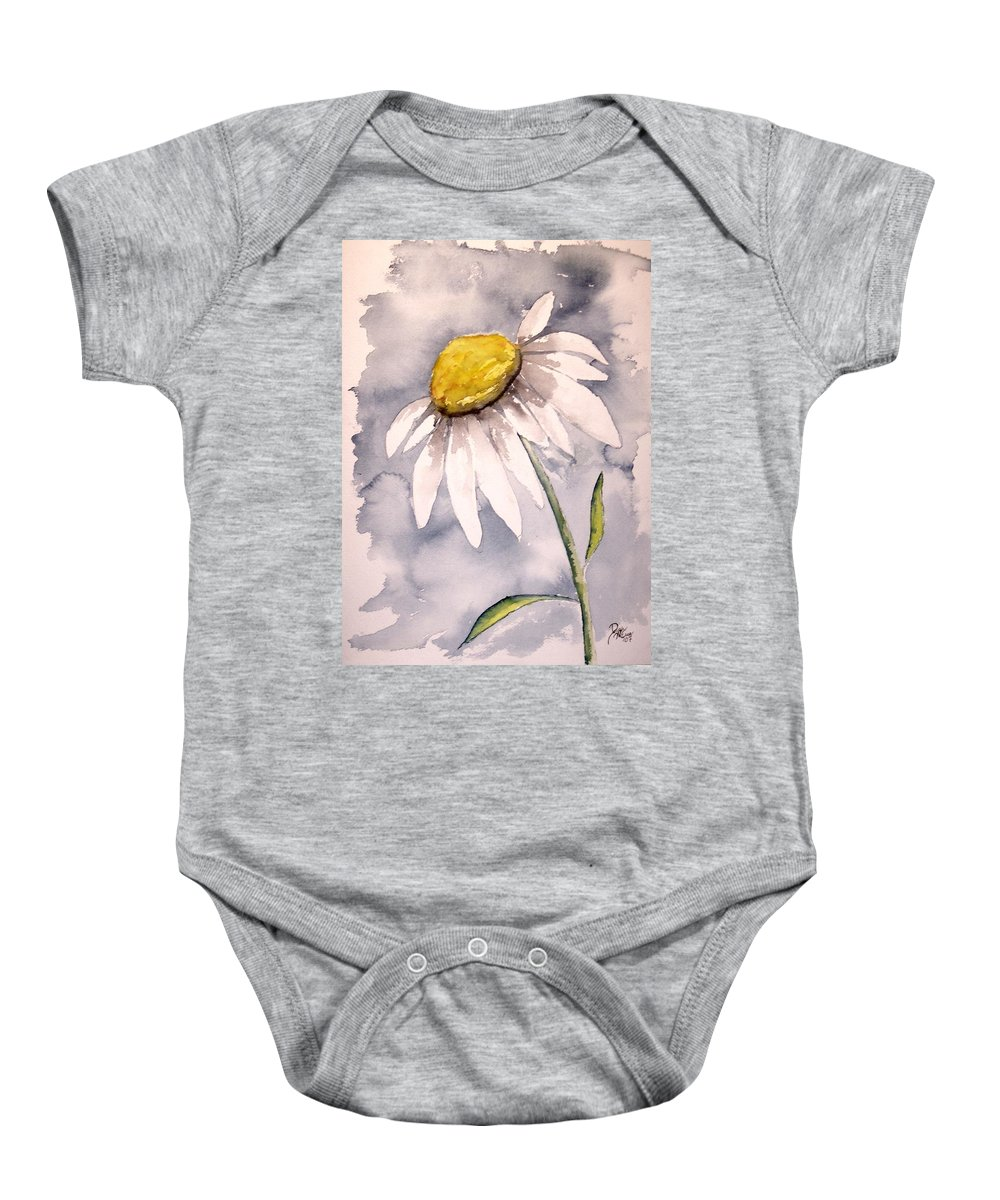Daisy Baby Onesie featuring the painting Daisy Modern Poster Print Fine Art by Derek Mccrea