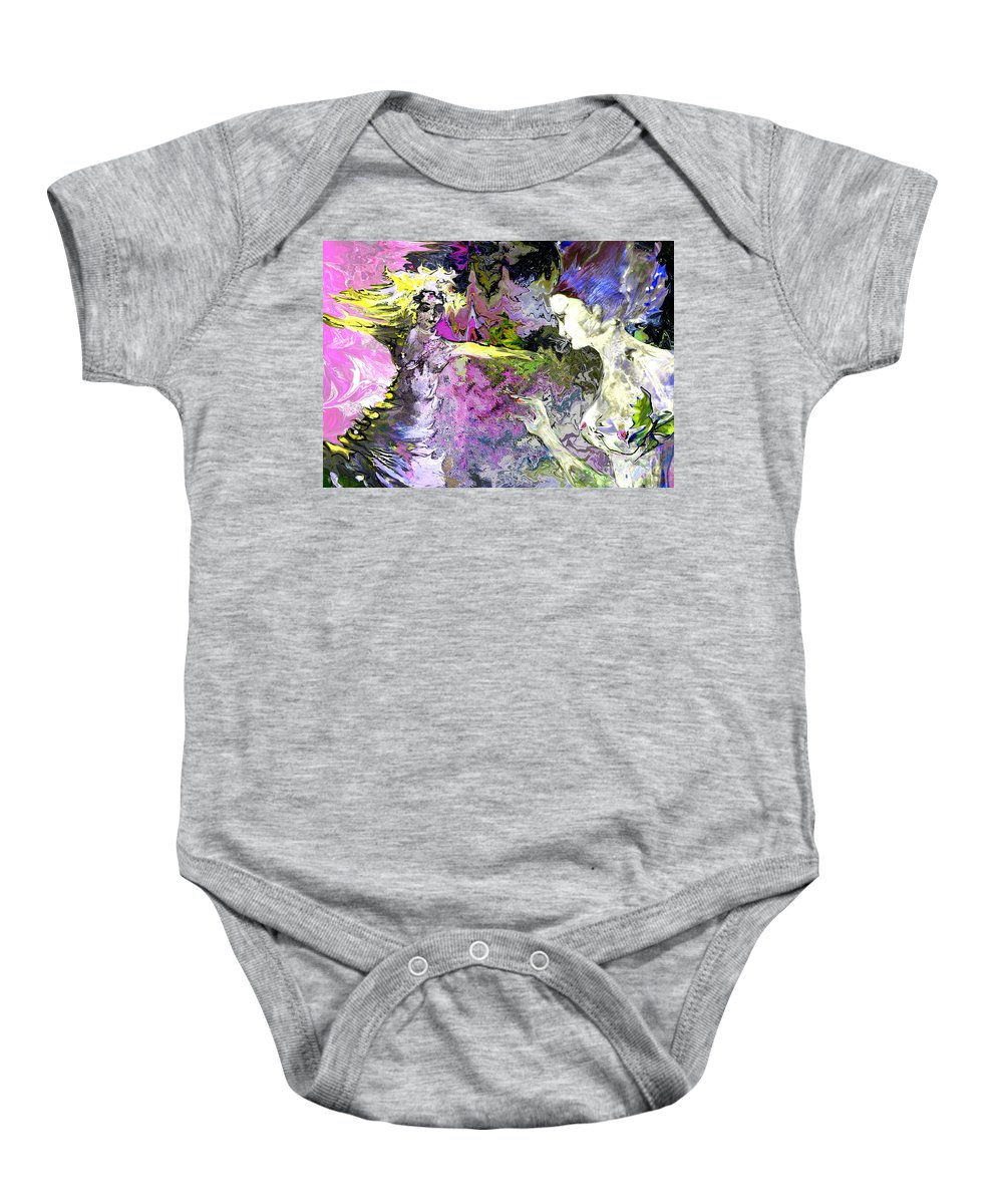 Miki Baby Onesie featuring the painting Dance In Violet by Miki De Goodaboom