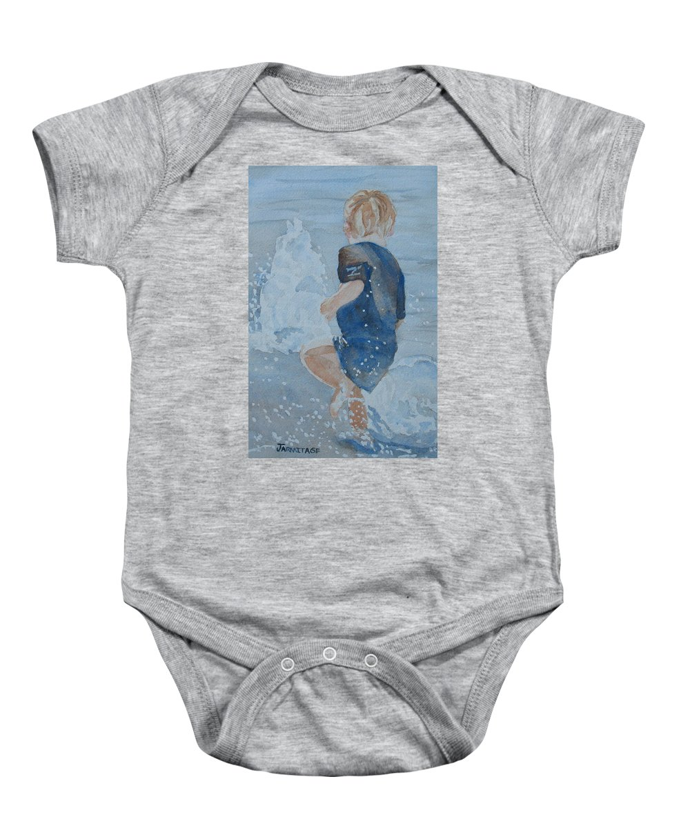 Boy Baby Onesie featuring the painting Dances With Fountains by Jenny Armitage