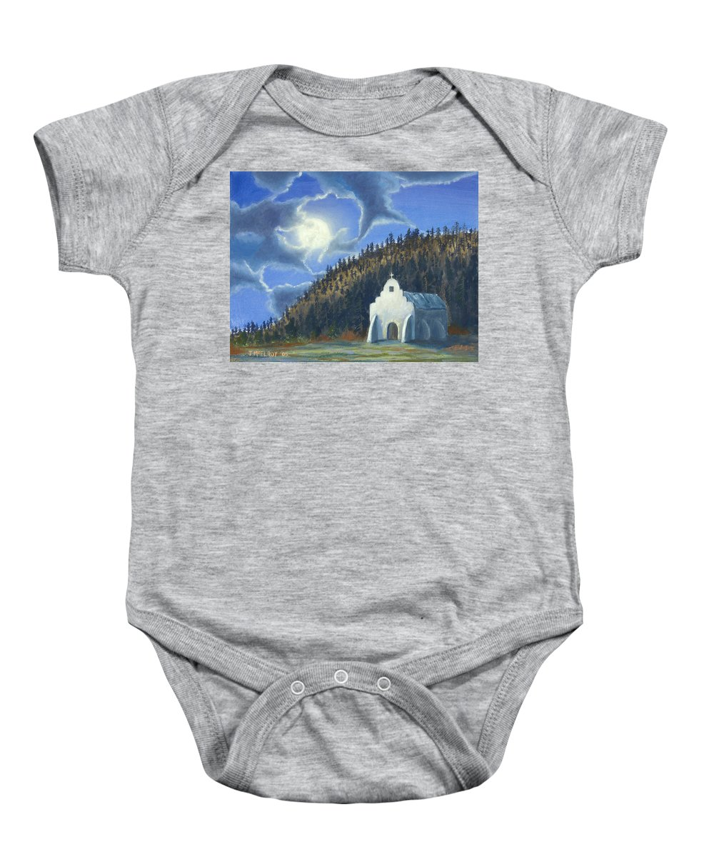 Landscape Baby Onesie featuring the painting Dancing In The Moonlight by Jerry McElroy