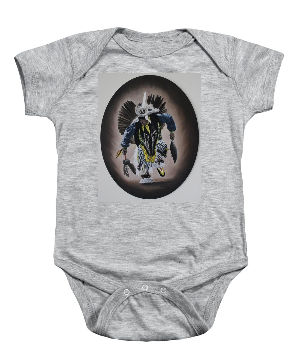 Michael Baby Onesie featuring the painting Dancing In The Spirit by Michael TMAD Finney