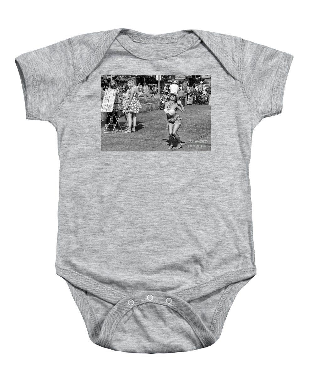 Street Baby Onesie featuring the photograph Dancing In The Street by Paul Fell
